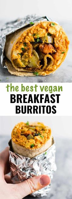 Vegan Breakfast Recipes The BEST vegan breakfast burrito recipe you'll ever try! Made with scrambled tofu and crispy vegan breakfast hash.The BEST vegan breakfast burrito recipe you'll ever try! Made with scrambled tofu and crispy vegan breakfast hash. Best Vegan Breakfast, Breakfast Hash, Vegan Breakfast Recipes, Brunch Recipes, Vegetarian Recipes, Healthy Recipes, Vegan Breakfast Burritos, Breakfast Ideas, Healthy Vegetarian Breakfast