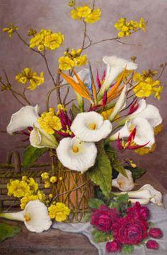 SHOKICHI TAKAKI - (1914 - 2006)    Título: Flores  Técnica: óleo sobre tela  Medidas: 60 x 40 cm  Assinatura: canto inferior esquerdo e dorso