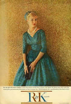 """""""For the girl who knows clothes."""" Mademoiselle, November 1958"""