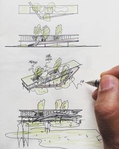 Really love this series of sketches. Plan, elevation, bird's eye and eye-level views. Black ink, and just 2 colour pencils. Great progression of views. Architecture Concept Diagram, Architecture Presentation Board, Architecture Sketchbook, Concept Architecture, Facade Architecture, Landscape Architecture, Conceptual Sketches, Landscape Sketch, Sketch Design