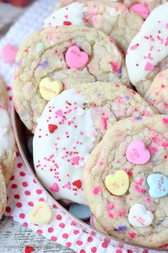 Tell someone you love them with these Conversation Heart Sugar Cookies. These buttery sugar cookies are filled with little pops of sweetness with crushed candy conversation hearts and sprinkles. Valentine Desserts, Valentines Day Cookies, Fun Desserts, Dessert Recipes, Birthday Cookies, Valentine Nails, Valentine Ideas, Valentine Crafts, Funfetti Cake Mix Cookies