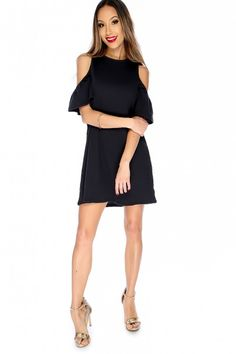 2d080c242e Sexy Black Cutout Shoulders Causal Dress
