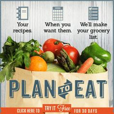 Plan to Eat is an online menu planner that uses your recipes, scheduled for the days you want them. It automatically makes your grocery list, organized the way you like to shop, using the recipes you've selected. Plan to Eat makes it easier to eat real food, prepared at home, with your family gathered around your own table