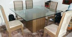Mesa Jantar De Vidro (MDF) Com 8 Cadeiras