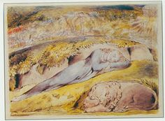 "Illustrations to John Bunyan's *The Pilgrim's Progress* By William Blake:  1 ""As I walked through the wilderness of this world, I lighted on a certain place, where was a den, and I laid me down in that place to sleep; and as I slept, I dreamed a dream."""