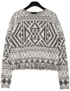 Geometric Tassel Sweater