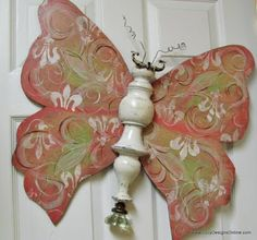 Recycled Table Leg & Spindle Butterfly Art - great ideas for garden art, using vintage hardware & salvaged pieces. *Use coat hangers for wings.
