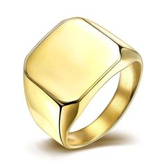 Cheap titanium steel jewelry, Buy Quality steel jewelry directly from China gold color Suppliers: VALEN BELA Square Big Width Signet Rings Gold Color Fashion Men Finger Titanium Steel Jewelry Steel Jewelry, Jewelry Rings, Gold Jewelry, Vintage Jewelry, Man Jewelry, Men's Jewellery, Gold Bracelets, Vintage Silver, Jewelry Design