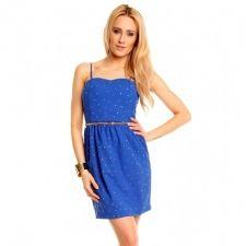 Нежна рокля в лазурно синьо и златисто