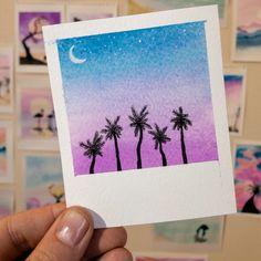 Cute Canvas Paintings, Small Canvas Art, Mini Canvas Art, Easy Canvas Art, Mini Paintings, Watercolor Drawing, Watercolor Paintings, Art Mini Toile, Oil Pastel Art