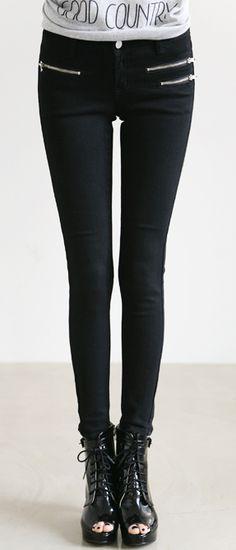 :: mihi zipper skinnies