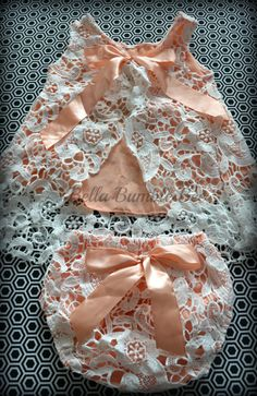 3c53f752843 Peach Crochet Lace Swing Top Shirt and Bloomer by BellaBumbleBee Romper  Dress