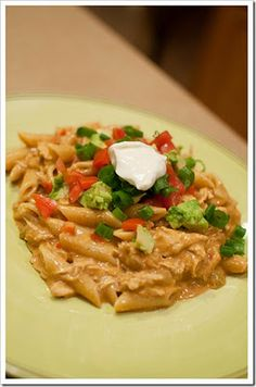 Chicken Enchilada Pasta. Made this for dinner, bit i modified it a bit. Made the sauce with red enchilada, sour cream, salsa, and about 2 Ounces of velveeta. Used a Mexican cheese blend for the topping. Really great!