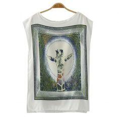 $17.54 Fashionable Scoop Collar Sleeveless Giraffe Pattern Women's T-Shirt