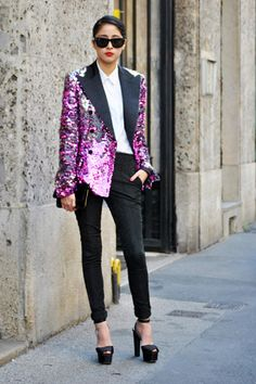 Sequin double breasted blazer.  A necessity for client meetings.
