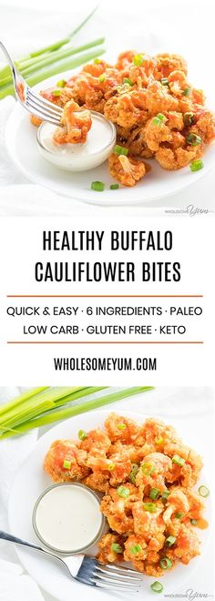 Baked Healthy Buffal Baked Healthy Buffalo Cauliflower Bites Wings Recipe - Paleo & Keto - A baked buffalo cauliflower bites recipe with just 6 ingredients. Everyone will love these easy healthy crispy and low carb buffalo cauliflower wings! Wing Recipes, Real Food Recipes, Vegetarian Recipes, Healthy Recipes, Keto Recipes, Cheap Recipes, Bariatric Recipes, Crockpot Recipes, Baked Buffalo Cauliflower