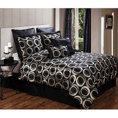walmart Victoria Classics Marlow 8-Piece Bedding Comforter Set, Black and Silver  $60