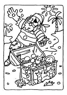 L'image à colorier d'un vieux pirate échoué sur une île et de son trésor