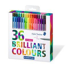 Amazon.com : Staedtler Color Pen Set, Set of 36 Assorted Colors (Triplus Fineliner Pens) : Office Products