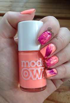 Models Own polish for tans watermarble Nail art by tatty_lou