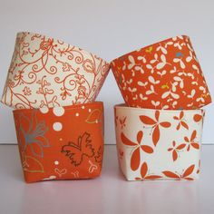 Mini Fabric Storage Container Organizer Bins - Set of 4 - Moda Chrysalis by Sanae - Orange Spice and Cream. $35.00, via Etsy.