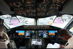 A great view of the flight deck of an Ethiopian Airlines 787-8 at Rome - Fiumicino