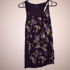 Express tank Purple with flowers Express Tops Tank Tops