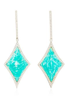 These vibrant one of a kind drop earrings by Ana Khouri are rendered in white gold with amazonite and surrounding white diamonds. Preorder now on Moda Operandi.