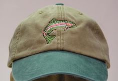 111d45e2ceae5d RAINBOW TROUT HAT - One Embroidered Men Women Fish Wildlife Cap - Price  Embroidery Apparel - 6 Two Tone Color Mom Dad Gift Caps Available
