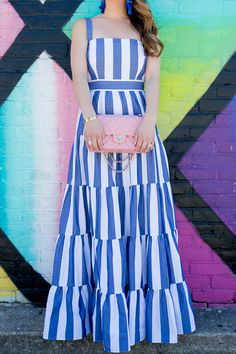 Jennifer Lake Style Charade in an Eliza J blue stripe tiered maxi sundress, pink Chanel quilted bag, and Kate Spade blue tassel earrings at a Dallas mural Stylish Dresses, Cute Dresses, Beautiful Dresses, Casual Dresses, African Fashion Dresses, African Dress, Fashion Outfits, Indian Designer Outfits, Designer Dresses