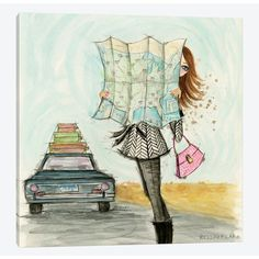 East Urban Home 'Road Trippin' Fashionista' by Bella Pilar Painting Print on Wrapped Canvas Size: Painting Prints, Art Prints, Paintings, Travel Illustration, Animation, Road Trippin, Canvas Wall Art, Wrapped Canvas, Art Drawings