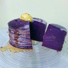 Mille crepe Purple yam and cheese ice cream! Purple Yam, Mille Crepe, Yams, Edible Art, Ice Cream, Cheese, Crafts, Life, Ideas