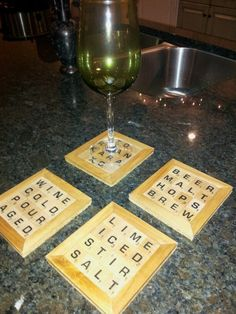 Scrabble Coasters- christmas gift for friends