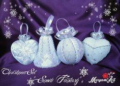 Elegantná biela sada vianočných dekorácií - falošný patchwork / Artmama.sk