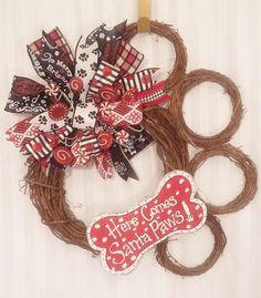 paw print Christmas wreath dog bone wreath Santa Paws