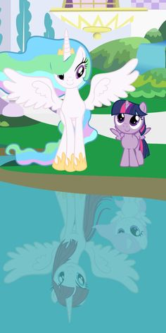 The feels <-- Celestia sees Twilight like her daughter (Reflection is filly Celestia and her mother)