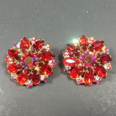 Weiss Red & Pink Aurora Borealis Rhinestone Earrings.  Jewelry under $25 at Ruby Lane @rubylanecom