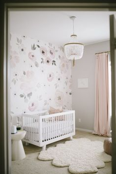 Floral Accent Wall in a Baby Girl Nursery