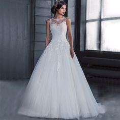 MM24 Vestido de noiva Casamento 2017 Custom Made Lace Wedding Dress See Through Robe De Mariage Vestidos de noiva Wedding Gowns