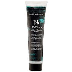 This product gives hair a hint of grit, some extra lift, and a tousled, shine-free finish. Its dry moisture finish leaves hair matte but not parched. It's made to mess with perfection and craft one-of-a-kind, freehand looks.    Bb. Texture Hair (Un) Dressing Creme - Bumble and bumble | Sephora