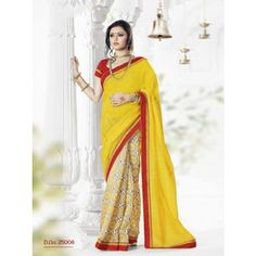 Buy Latest Online Yellow Color Indian Designer Saree Shopping