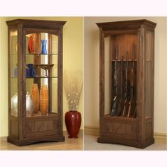 Convertible Display and Gun Cabinet Woodworking Plan from WOOD Magazine Essential Woodworking Tools, Antique Woodworking Tools, Unique Woodworking, Woodworking Furniture, Woodworking Projects Plans, Furniture Plans, Wood Furniture, Furniture Projects, Teds Woodworking