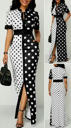 Front Slit Polka Dot Print Maxi Dress - Women's style: Patterns of sustainability Short African Dresses, Latest African Fashion Dresses, African Print Fashion, Cute Dress Outfits, Casual Dresses, Sexy Dresses, 1950s Dresses, Pink Dresses, Summer Dresses