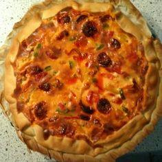 Quiche Chorizo, Charcuterie, Food And Drink, Pie, Breakfast, Desserts, Quiches, Kitchen, Pizza