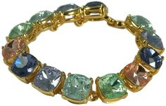 KENNETH JAY LANE-MULTI PASTEL SQ PASTEL CRYSTALS-14KT GOLD PLATE-7.5 INCHES-FAB! #KennethJayLane #Statement