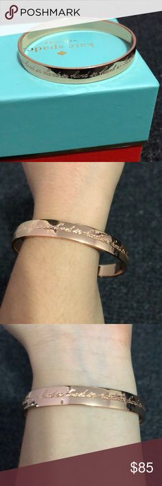 """Kate spade rose gold bracelet with saying Really pretty rose gold Kate spade bracelet with saying that repeats """"hand in"""". Inside says """"there is strength in number."""" kate spade Jewelry Bracelets"""