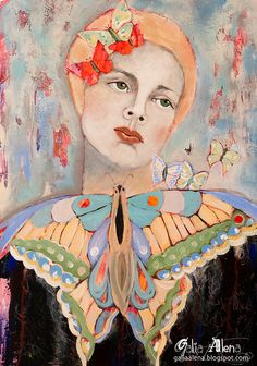 Butterfly Song mixed media painting approx 10x15 by GaliaAlena, $360.00