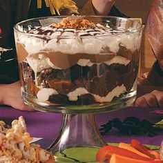 Brownie Trifle... this was amazing!  The extra crunch of the butterfinger candy made it that much better!  This was a huge hit!