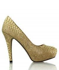 Shoes www.shoeenvy.com.au Naked Dragon - Womens nude snake platform high heels $129