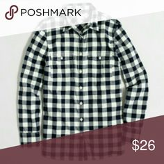 J.Crew Factory Navy Flannel Shirt First photo is Stock photo Navy Ivory colored, brand new, never worn   *bottom photo not same top just a style idea J. Crew Factory Tops Button Down Shirts